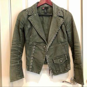 Vintage army green Diesel corset-style moto jacket